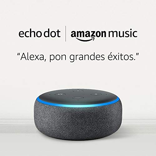Amazon Echo Dot (3.ª generación) tela de color antracita + Amazon Music Unlimited (6 meses GRATIS con renovación automática)