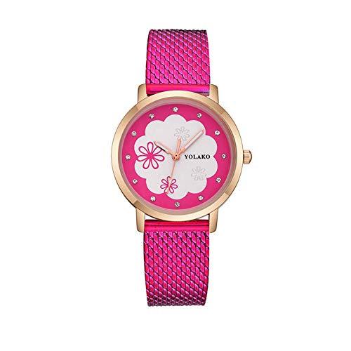 Montre Mesdames Montre Bracelet Cadeau Mignon Doux Style Écolière Montre Flocons De Neige Pétales Montre-Bracelet-Rose Rouge