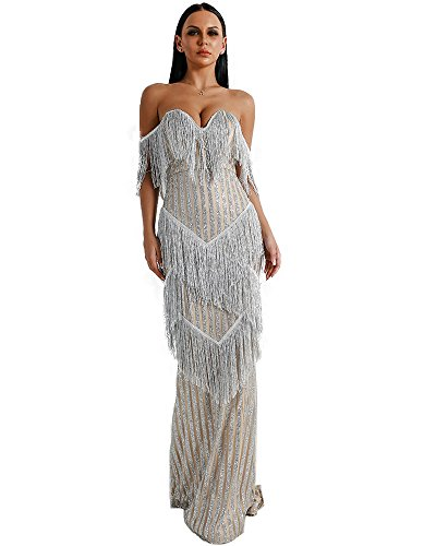 Miss ord Sexy Bra Off Shoulder Backless Dresses Female Tassel Glitter Maxi Elegant Party Dress Medium Silver