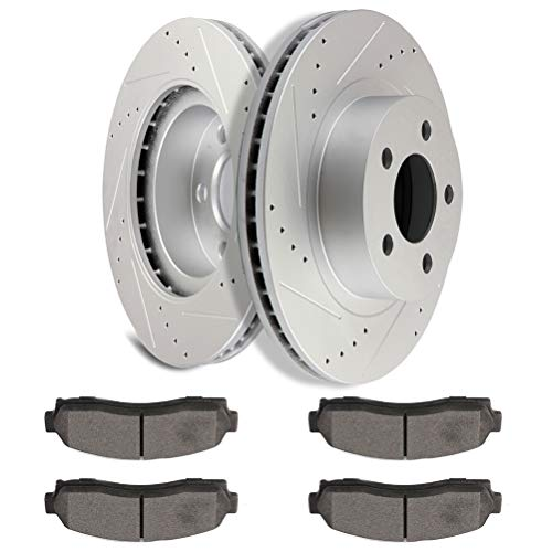 [SCITOO Brake Kits] - (2) Front Drilled and Slotted Disc Brake Rotors (4)...