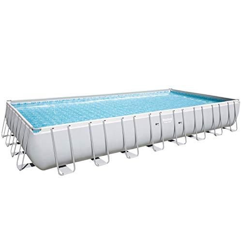 Bestway 56936 – Piscina elevada Power Steel rectangular, incluye base, estructura y liner, 956 x 488 x 132 cm, color gris