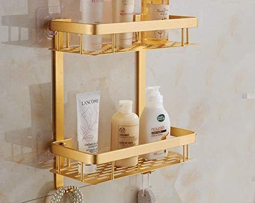 Selbsthaftendes Badezimmerregal, 2 Ablagen, Eckregal, Aluminium, Duschregal/-korb für Handtuch, Produkte, Organizer mit Haken, Badezimmerzubehör, Aluminum, gold, Rectangle