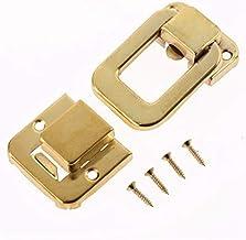 Antieke doos gesp 1 st 48 * 32mm sieraden borst wijn houten doos geval tuimelslot koffer hasp haak slot met schroeven vint...