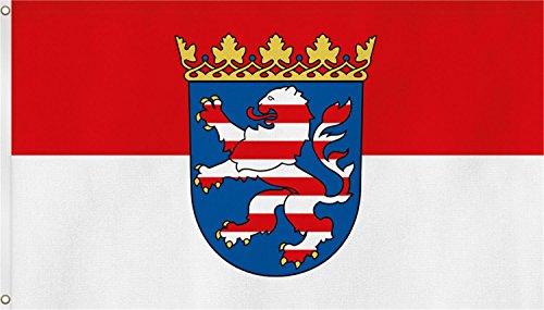 normani Fahne mit Zwei Metallösen zur Befestigung - Größe 90 x 150 cm Farbe Hessen