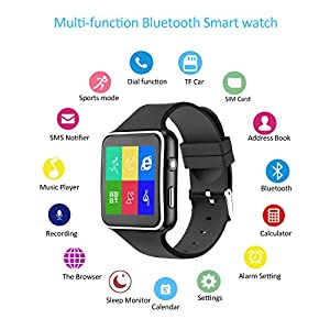 ANCwear Smart Watch-Bluetooth Smartwatch Touch Screen Wrist Watch with Camera/SIM Card Slot,Waterproof Smart Watch Sports Fitness Tracker Watch Android Phone Watch Compatible with Android iOS Phones
