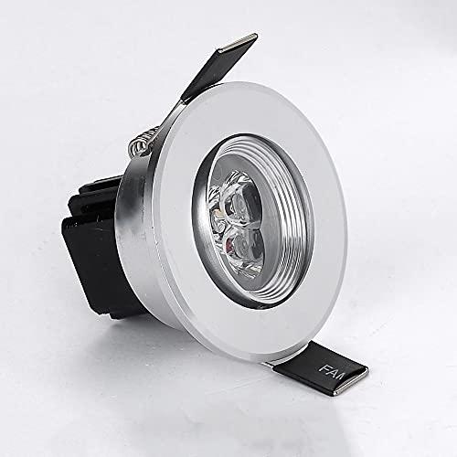 Raelf Iluminación comercial redonda Panel plano Downlamp 3W LED Lámpara de techo empotrada de techo de 65 mm Agujero de corte anti-deslumbramiento Luces de techo for el techo de la lámpara del agujero