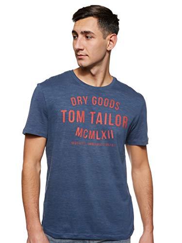 TOM TAILOR Herren Crew Neck Logo Print T-Shirt, Cyber Grey Yarndye, S