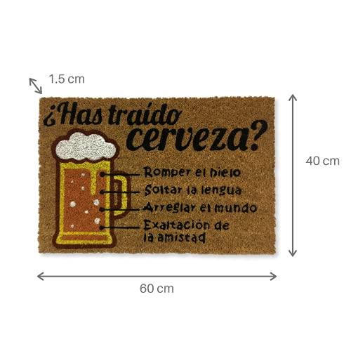 KOKO DOORMATS felpudos entrada casa originales, fibra de coco y PVC, felpudo exterior cerveza Has traído Cerveza? 40x60x1.5 cm | Alfombra puerta entrada casa exterior | Felpudos divertidos para puerta