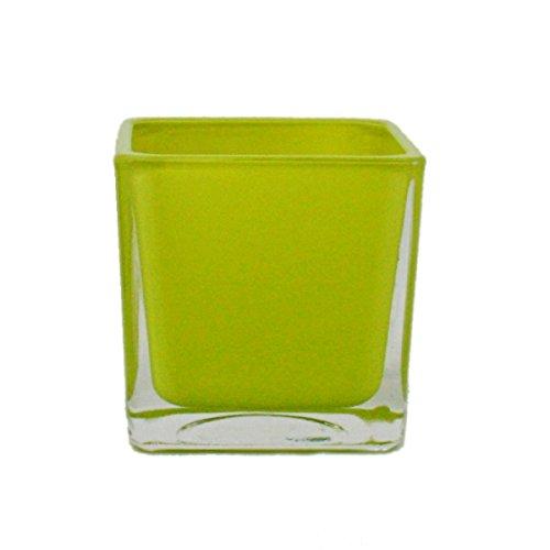 Overpot-Bloempot glazen blokjes - 8x8x8cm groen