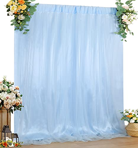 Tulle Backdrop Curtain Baby Blue 5ft x 7ft Sheer Backdrop Drape Wedding Birthday Party Baby Shower Background