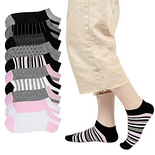 Chalier 10 Paar Damen Sneaker Socken Baumwolle Atmungsaktive Socken mit Streifen und Punkten