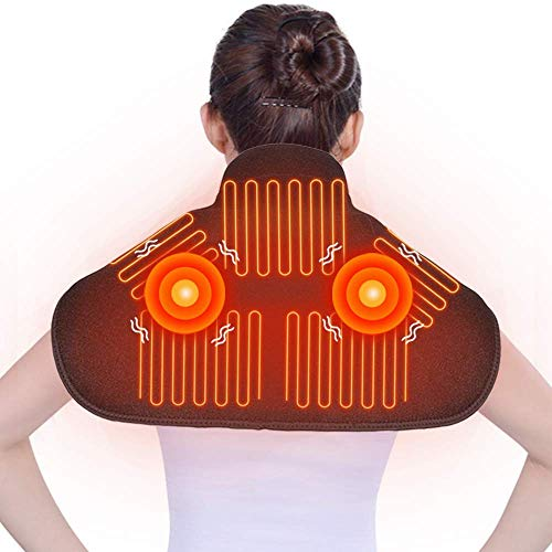 Heating Massage Shoulder Neck Wrap - Heated Massage Wrap for Neck Shoulder with Vibration Massager for Pain Relief - 7.4V Battery Powered Heat Therapy.