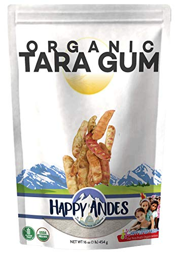 Happy Andes Organic Tara Gum Powder 1lb- All-Natural Thickening Agent for Baking and Ice Cream - Gluten-Free Alternatives to Guar, Locust Bean and Xanthan Gum - Kosher and Vegan-Friendly, Non-GMO