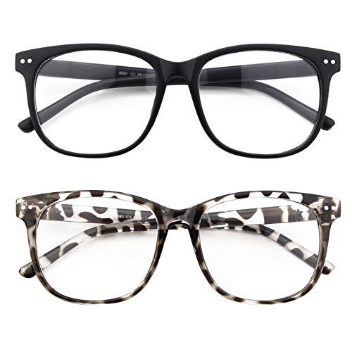 GQUEEN Großer Übergroßer Rahmen Hornbrille Klare Gläser Brille PE1 2er Pack
