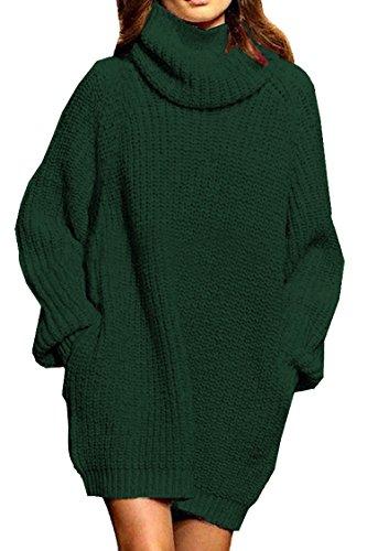 Women's Loose Turtleneck Oversize Long Pullover Sweater Dress Dark Green L