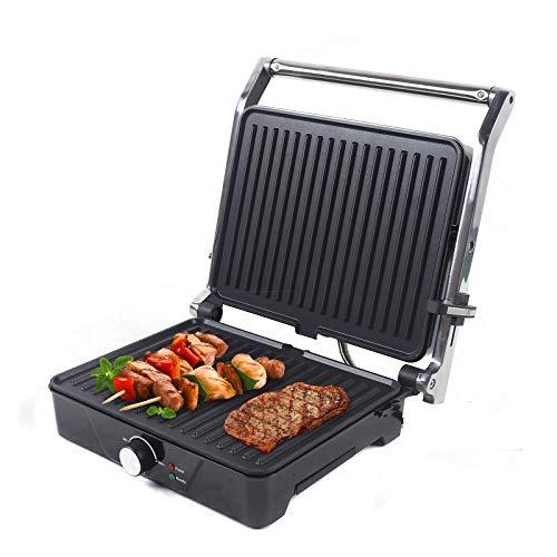 2000 W Multigrill, parrilla de mesa, parrilla de contacto para filetes, tostadas, panini, verduras, placas de cocción antiadherentes de doble cara, carcasa de acero inoxidable, color negro
