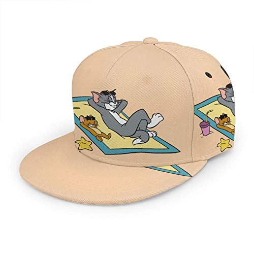 LREFON Tom Jerry Gorra de béisbol Hombres Mujeres Gorra atlética Ajustable Snapback Sombrero Profesional Adolescentes Corriendo