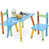 GOPLUS Set Mobile Tavolino con 2 Sedie, con Gambe di Legno Massello Pino, Set Mobili Multicolore, Set Cameretta per Bambini Carino