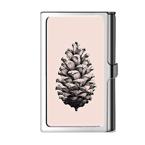 Diseño de la tarjeta de visita de la astilla del titular, caja del crédito de la cartera del nombre del acero inoxidable del metal para los hombres y las mujeres-tuerca de pino