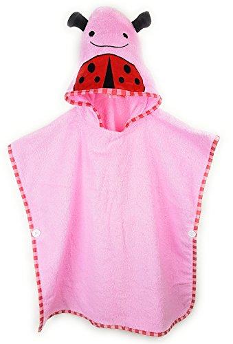 Schlupfi Badeponcho Kinder: Kinderhandtuch mit Kapuze - Handtuch Poncho mit Tiermotiv, Kapuzenhandtuch für Jungen und Mädchen, Marienkäfer in Rosa, 60x120cm