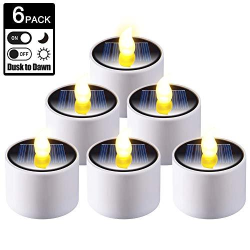 LED Kerzen, 6 Stück Solar Kerzen Außen Interior Solar Teelichter Wasserdicht Flammenlose Solar Kerzenlicht Solarleuchte Teelichter Nachtlicht für Garten Balkon Party Hochzeit Festival Deko