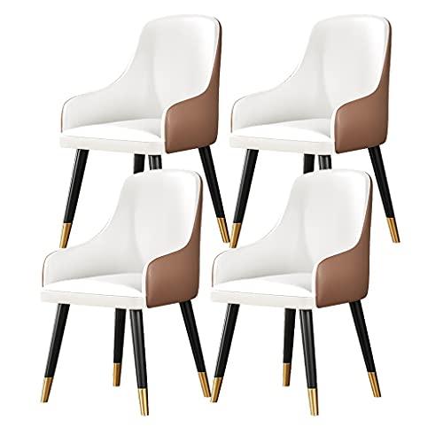 ADGEAAB Juego de 4 sillas de cocina con respaldo de poliuretano moderno de mediados de siglo con patas de metal
