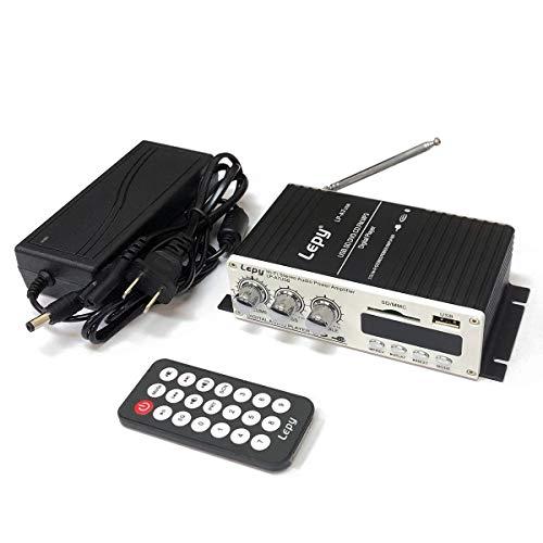 LEPY 2chコンパクトオーディオアンプ USB/SDカード再生可 リモコン付 Bluetooth対応 出力20W+20W Hi-Fiステレオアンプ 12V 5Aアダプター付属 LP-A7USB