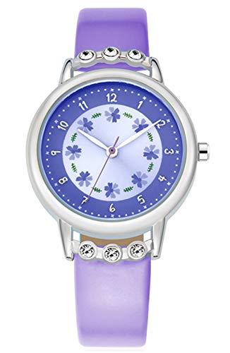 WUTAN Reloj de niña adorable correa de cuero correa de muñeca con esfera de flores con diamantes lindo reloj para niñas casual impermeable relojes de pulsera para niños reloj para niños Niñas