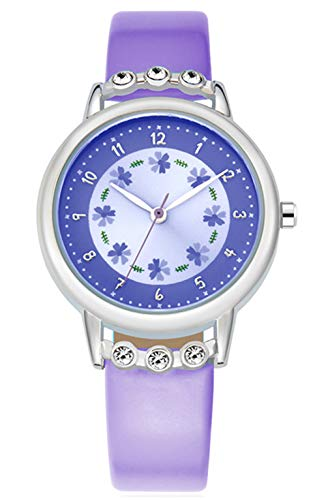 WUTAN Girls Watch Adorable Leather Strap Purple Wrist Band Flowers Dial with Diamond Cute Watch for Girls Casual Waterproof Wristwatches for Kids Reloj para Niños Niñas