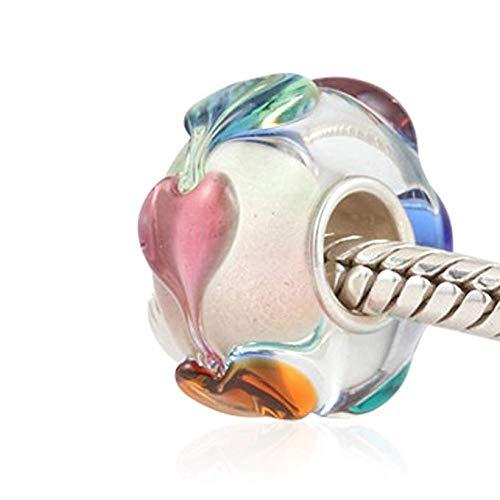 Abalorio de cristal de Murano de plata de ley 925, diseño de...