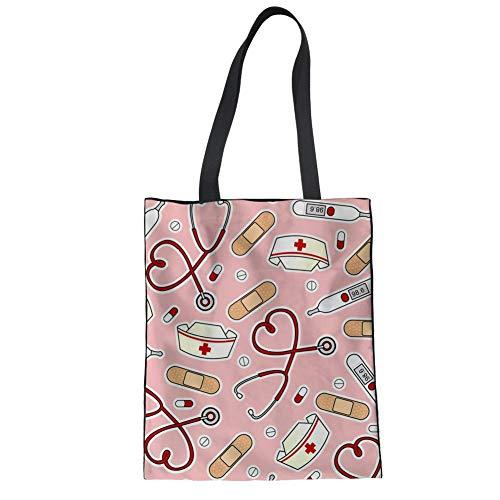 Showudesigns Bolso de lona para mujer, diseño de enfermera, para manualidades, trabajo, profesor, bolso de hombro, para adolescentes y niñas, color rosa