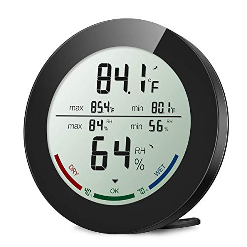 ORIA Digitales Thermo-Hygrometer, Indoor Hygrometer Thermometer (Schwarz)
