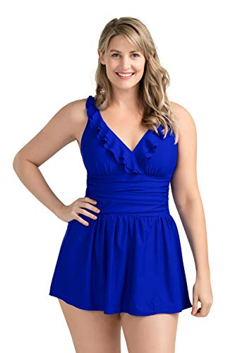PERONA Women Plus Size Swimwear One Piece Swimdress Tummy Control Swimsuit Printed Skirt Bathing Suits (US 18(Read The Size Chart in Our Image), Royal Blue)