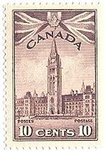 1942 Canada Postage Stamp 10 Cents Parliament Scott # 257