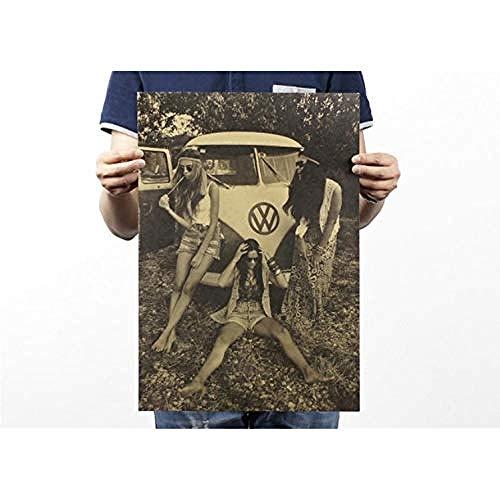 Plakaat Retro Girl Classic bus kraftpapier 51X35cm / stickers / doorbraak / zelfklevende muurschildering / muurstickers / steen / muurdoorbraak / muurstickers / tattoo