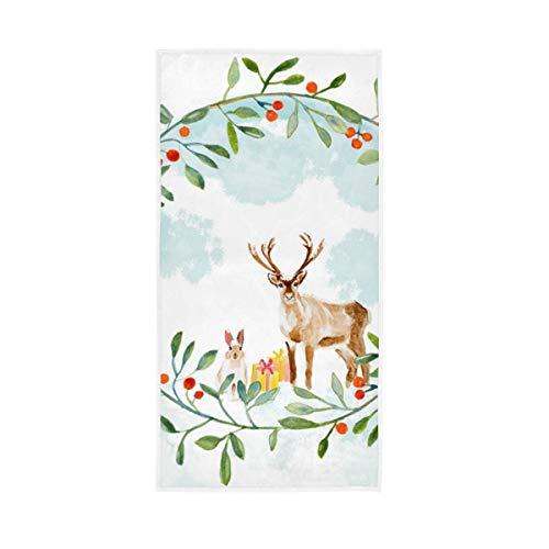 Mnsruu Christmas Deeer In The Forest Toallas de Mano Toalla de baño Absorbente Suave para baño, Hotel, Gimnasio y SPA (76x38cm)