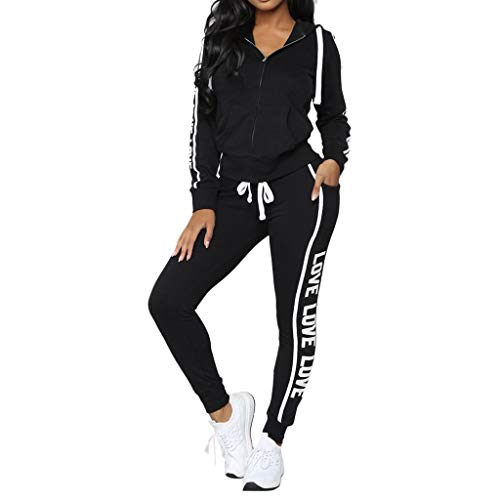 Women's Casual Striped Sweatsuit Set Zipper Sports Jacket Hoodie and Pants Sport Suits Tracksuits 2 Piece Outfits