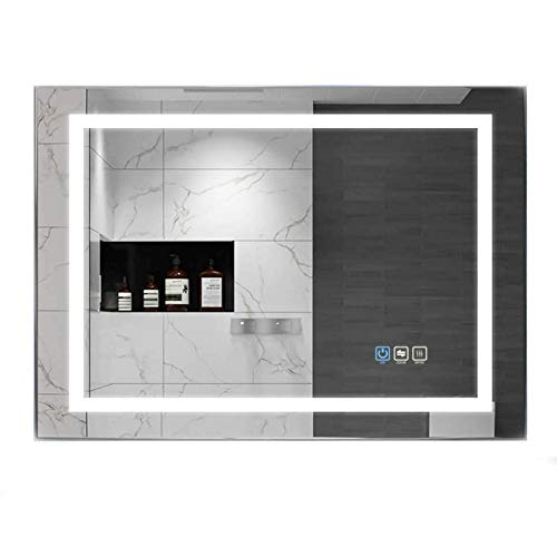 UVII 32'x24' LED Lighted Bathroom Mirror, Horizontal/Vertical Wall Mounted Vanity Mirror with Light, Anti Fog, 3000K-6400K, Dimmable Touch Sensor