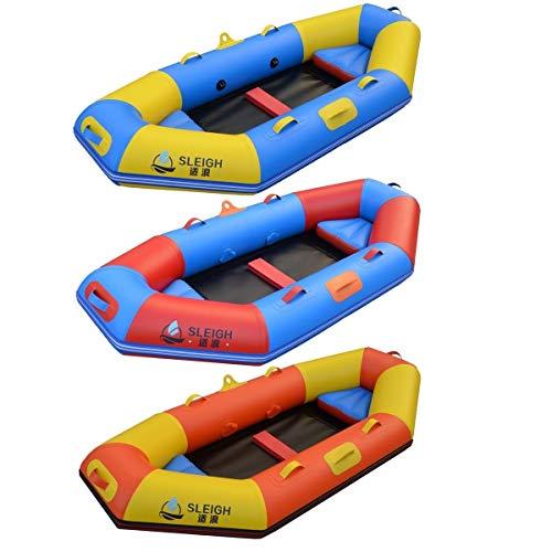GUOE-YKGM Kayak Excursion Schlauchboot-Set Mit Aluminiumrudern Und 2 Aufblasbaren Sitzkissen (3-Personen-Modell), Angler Und Freizeit-Sitzkajak Für Leichte Angelausflüge (Color : Orange)
