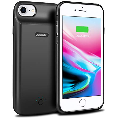 Battery Case for iPhone 6/6s/7/8, [Upgraded 2500mAh] Aonidi Portable Ultra-Slim Protective Charging Case, Extended Rechargeable Smart Battery Pack, Backup Charger Case Power Bank Cover (4.7inch-Black)