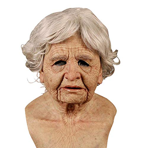 Halloween Masken Latex Männer Und Frauen Gruselige Alte Mann Masken,Realistische Menschliche Faltige Oma-Maske, Gruseliges Zombie-Kostüm Des Lockigen Haares, Verwendet Für Maskerade-Cosplay