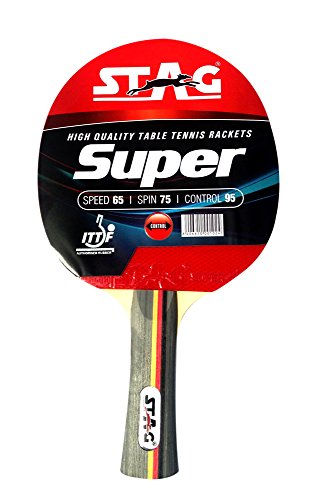 Stag Super Table Tennis Racquet | 174 grams | Intermediate | ITTF Approved Rubber | Multi- Color