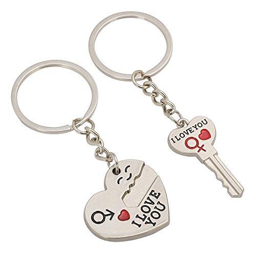 TRIXES Un Llavero en Forma de corazón con Flecha y Otro con Forma de Llave, Ambos con el Mensaje I Love You. Regalo Ideal para Amantes y Enamorados.