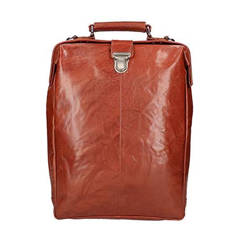 Leather Design Leren Rugzak/Schoudertas Groot 15.6'' Cognac