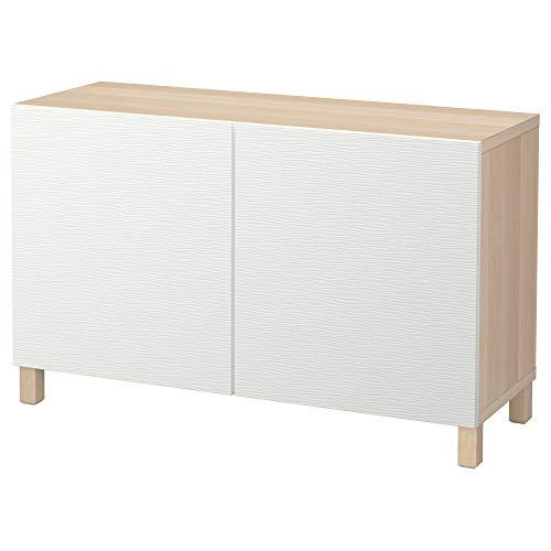 BESTÅ förvaringskombination med dörrar 120 x 40 x 74 cm vitfärgad ekeffekt/Laxviken vit