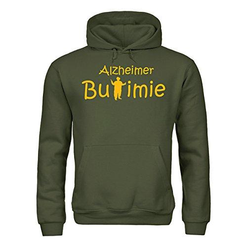 MDMA Kapuzensweatshirt Alzheimer Bulimie mdma-h00351-61 Textil khaki / Motiv gelb Gr. S