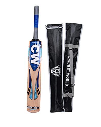 CW SMASHER - Bate de críquet inglés de alta calidad, mango corto, de sauce inglés, bordes gruesos, peso ligero, con cubierta acolchada