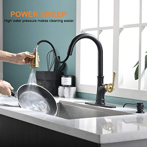APPASO Pull Down Kitchen Faucet with Magnetic Docking Sprayer - Single Handle High Arc One Hole Pull Out Kitchen Sink Faucets, Black and Gold