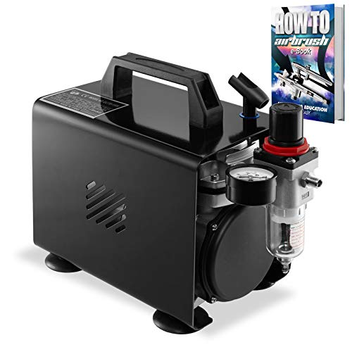 PointZero 1/5 HP Airbrush Compressor with Regulator, Gauge, Water Trap, and Cover with Holder - Quiet Portable Air Pump