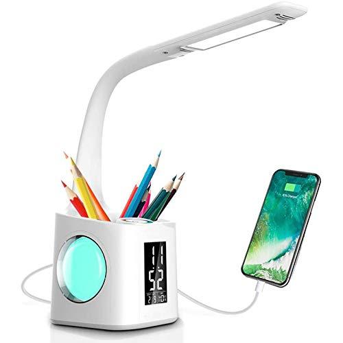 Lámpara de Escritorio con Protección Ocular LED Creativa, Calendario Perpetuo con Portalápices, Puerto de Carga USB, Atenuación Táctil, 256 Luces Nocturnas de Colores, Luces de Oficina,